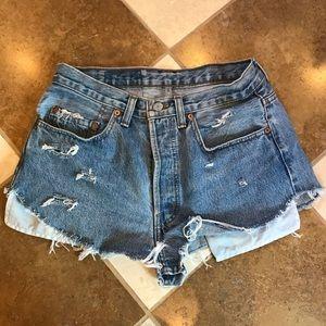 Vintage Levi 501 distressed shorts